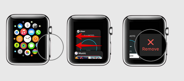 Force leaving an application on Apple Watch